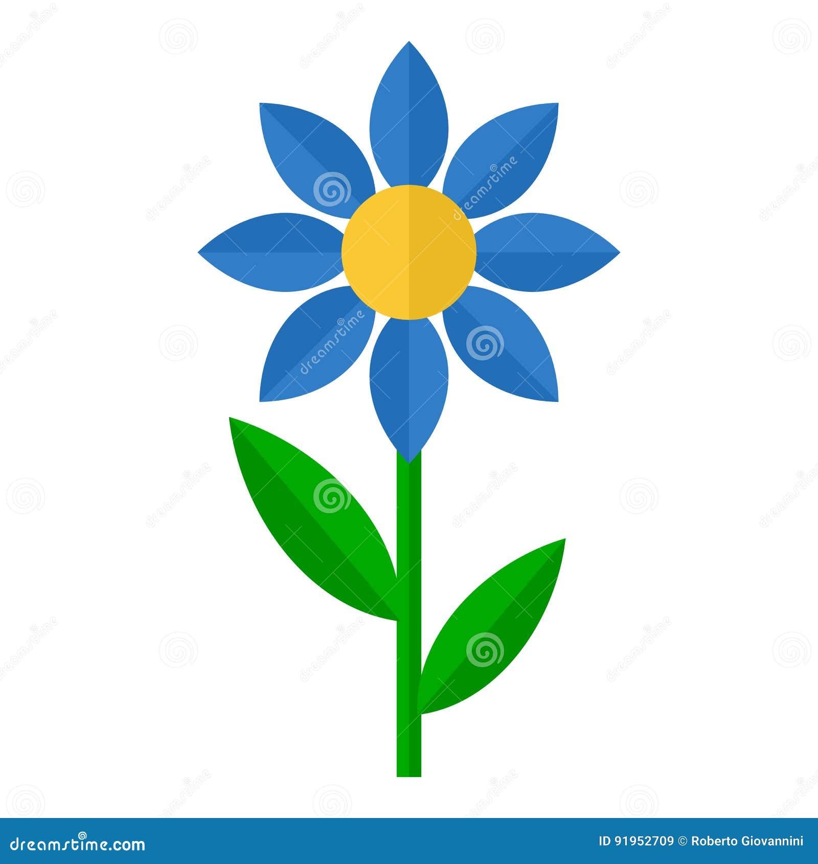 Blauw Bloem Vlak Pictogram dat op Wit wordt geïsoleerd