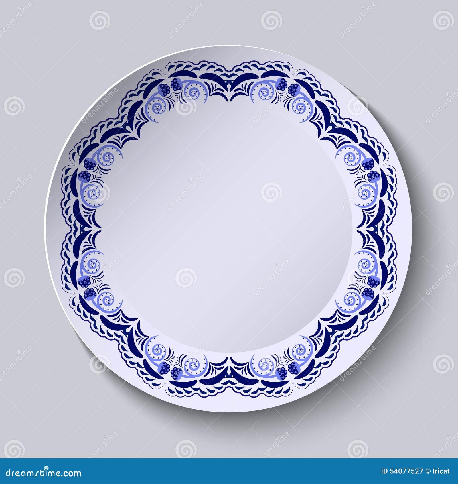 Blauw bloemenpatroon op de rand van de plaat Imitatie van het Chinese porselein schilderen