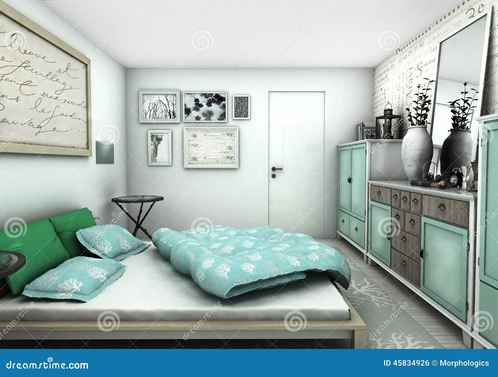 Blauw en groen slaapkamer binnenlands ontwerp stock illustratie