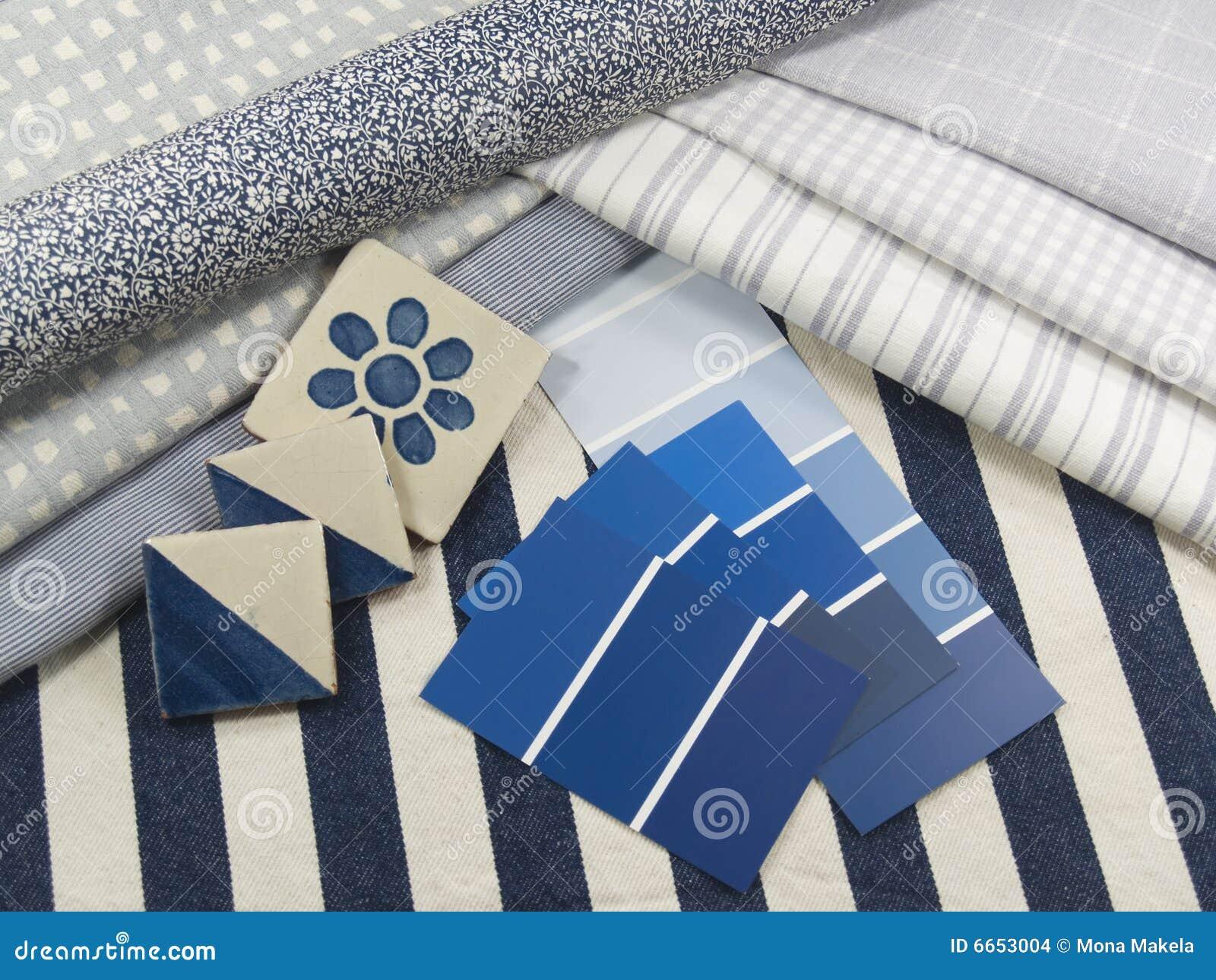 Blauw en wit binnenlands ontwerpplan