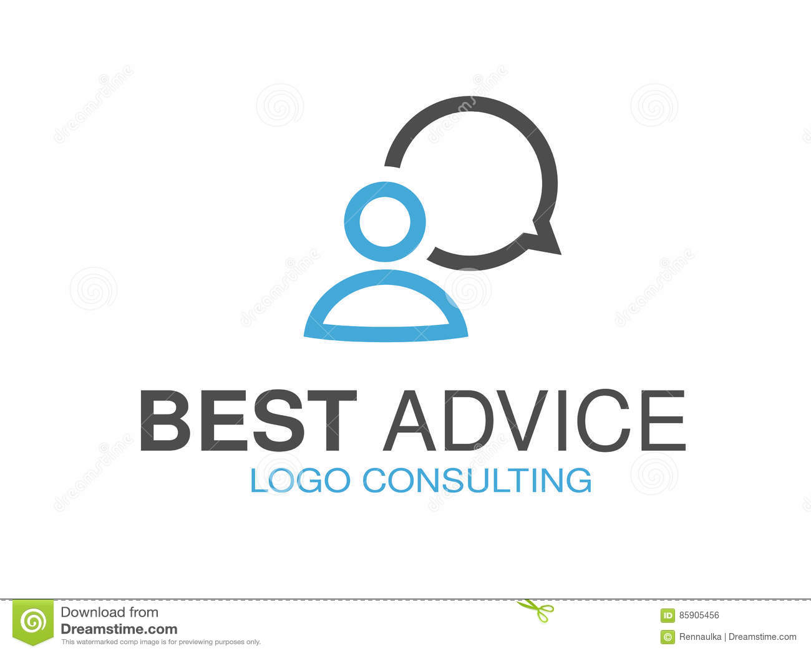 Blauw grijs merk voor het raadplegen van agentschap, beste raad Embleemontwerp met symbool van de toespraakbel en mens