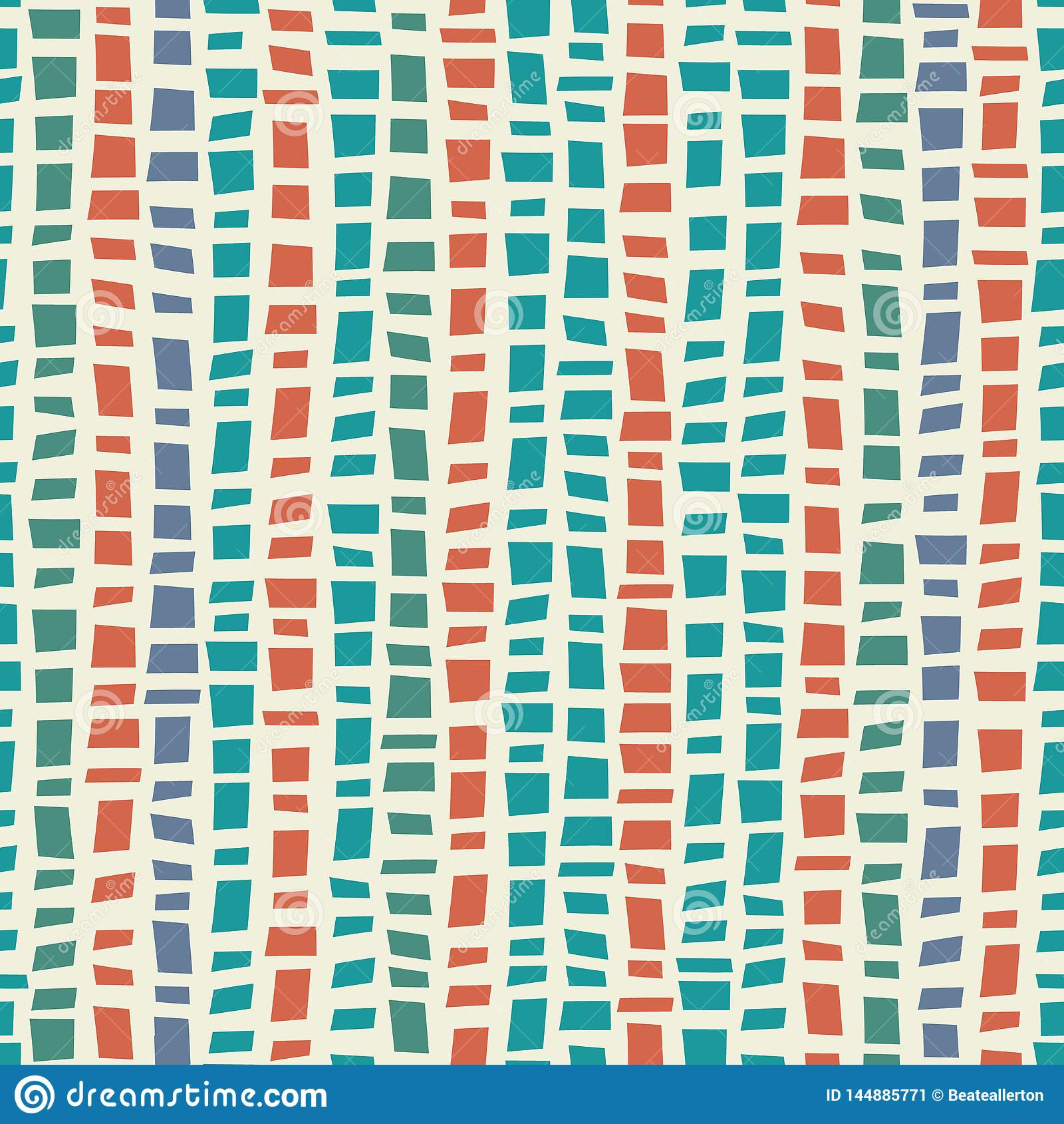 Blauw, groen de stijl verticaal gestreept ontwerp van het mozaïekterrazzo met de kleur van het accentkoraal Naadloos vectorpatro