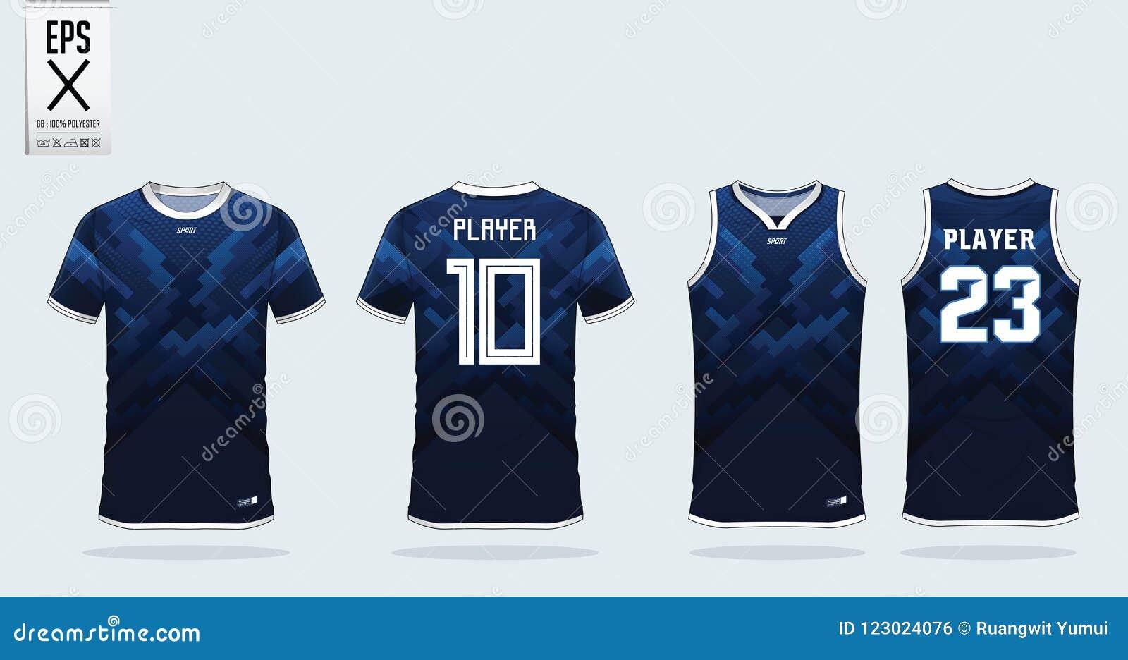 Blauw het ontwerpmalplaatje van de t-shirtsport voor voetbal Jersey, voetbaluitrusting en mouwloos onderhemd voor basketbal Jerse