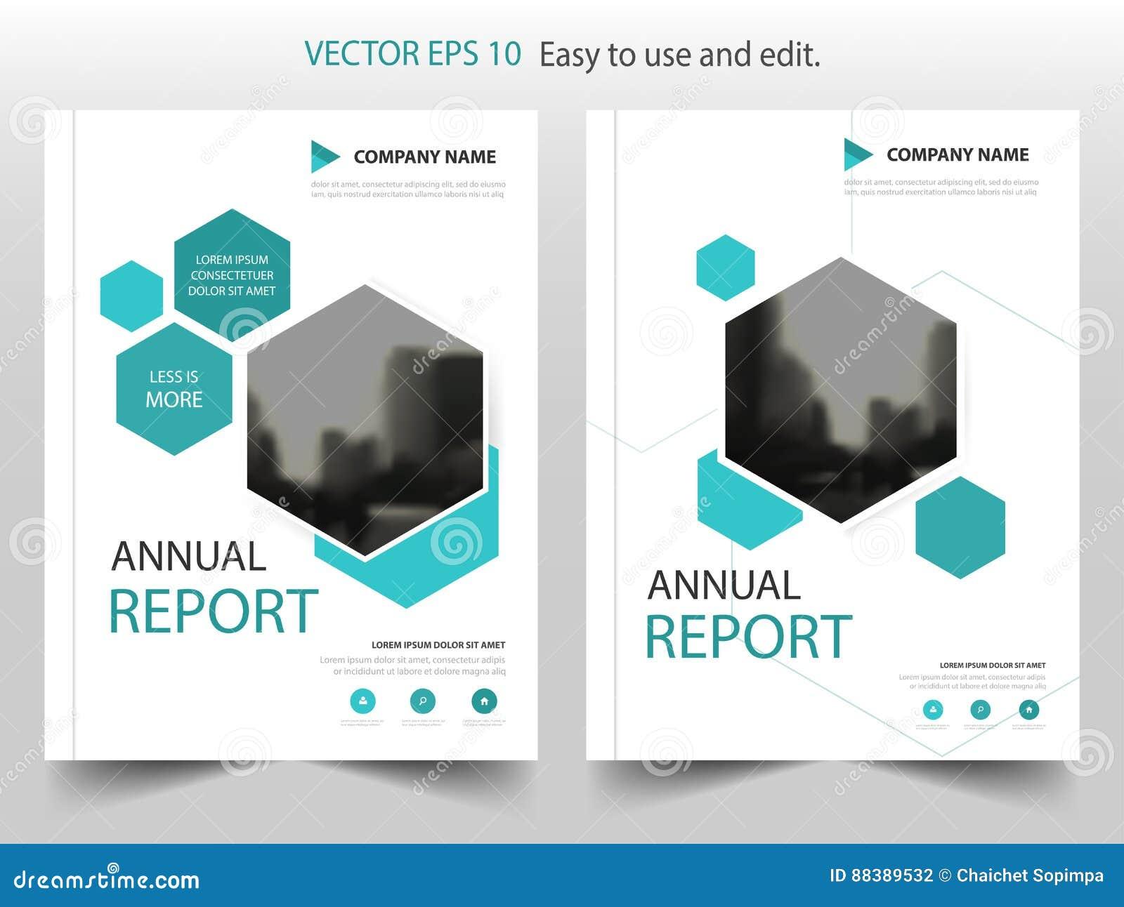 Blauw hexagon van de het Pamfletvlieger van het Brochure jaarverslag het malplaatjeontwerp, de lay-outontwerp van de boekdekking,
