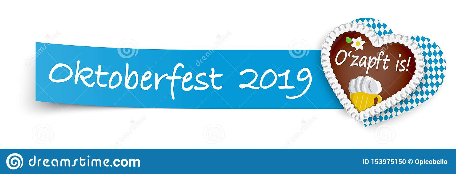 Blauw kleverig document met peperkoekhart Oktoberfest 2019