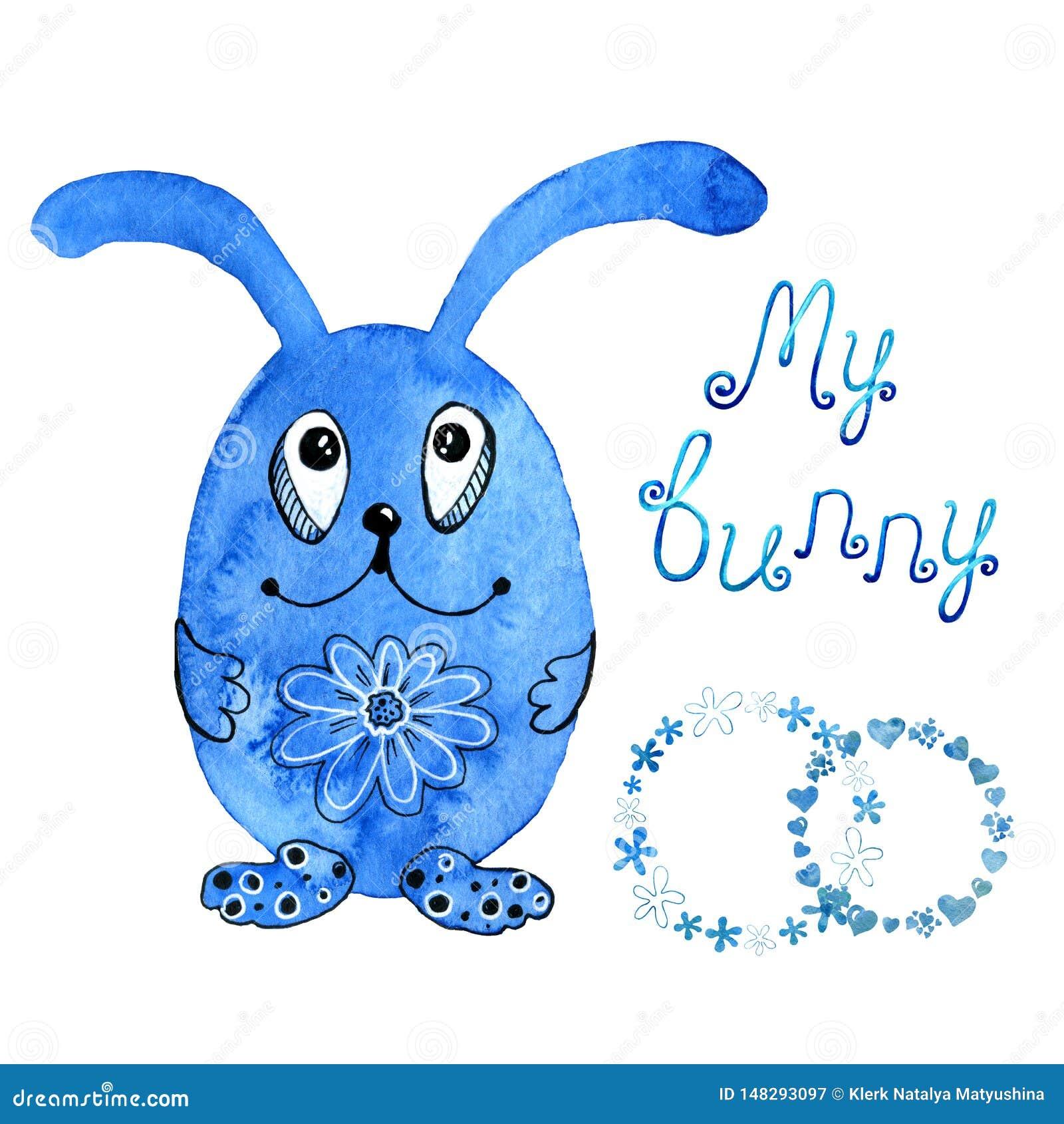 Blauw konijntje, konijn uitnodiging Trekkend in waterverf en grafische stijl voor het ontwerp van drukken, achtergronden, kaarten