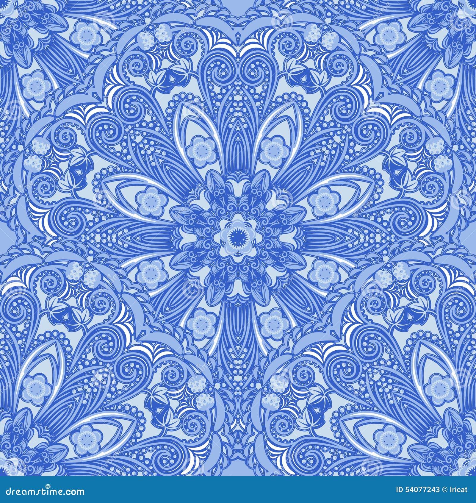 Blauw naadloos patroon van cirkelornamenten Bloemen en bessenachtergrond in de stijl van het Chinese schilderen op porselein