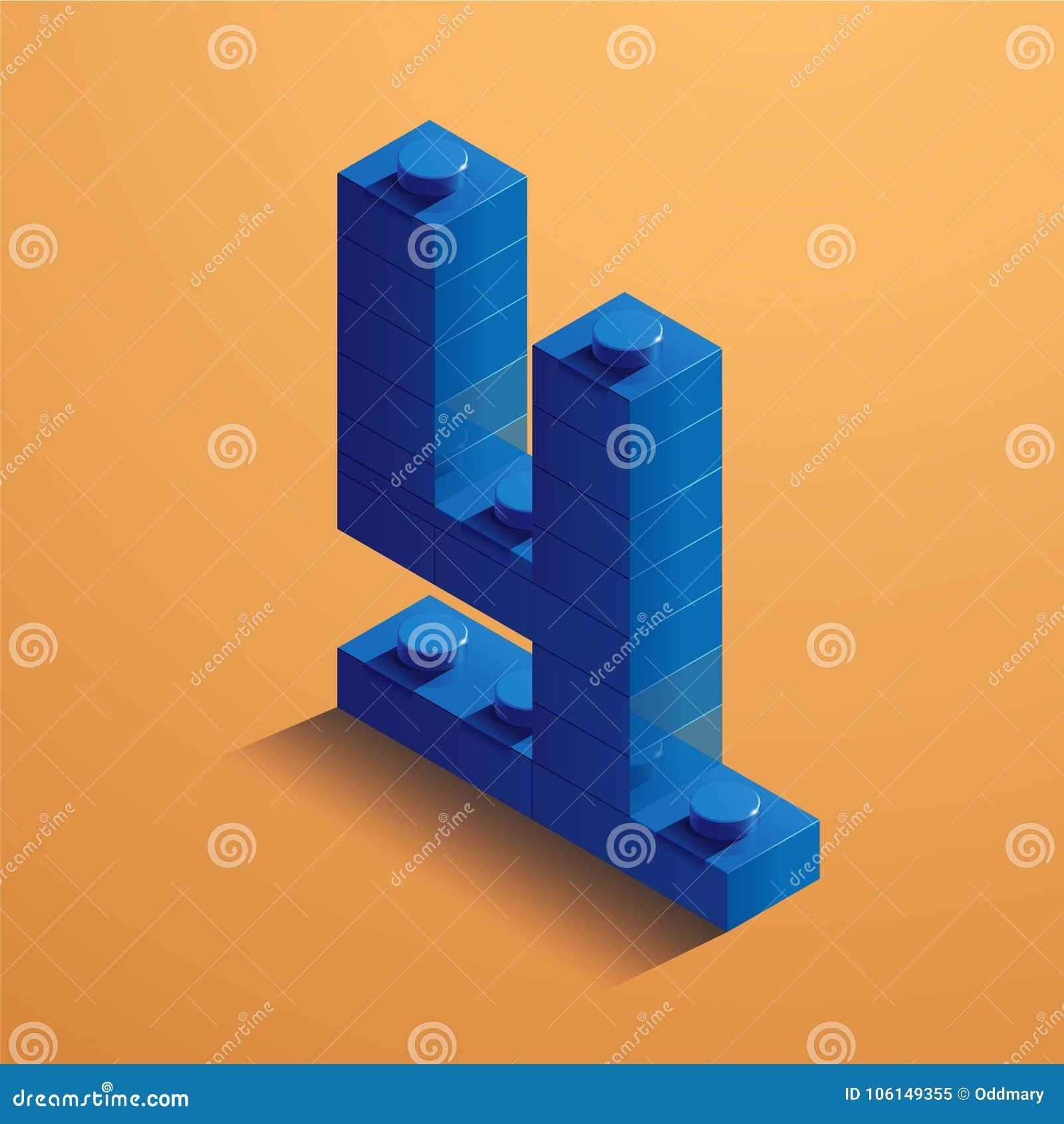 Blauw nummer vier van consructorbaksteen op gele achtergrond 3D Lego-baksteen Vector illustratie