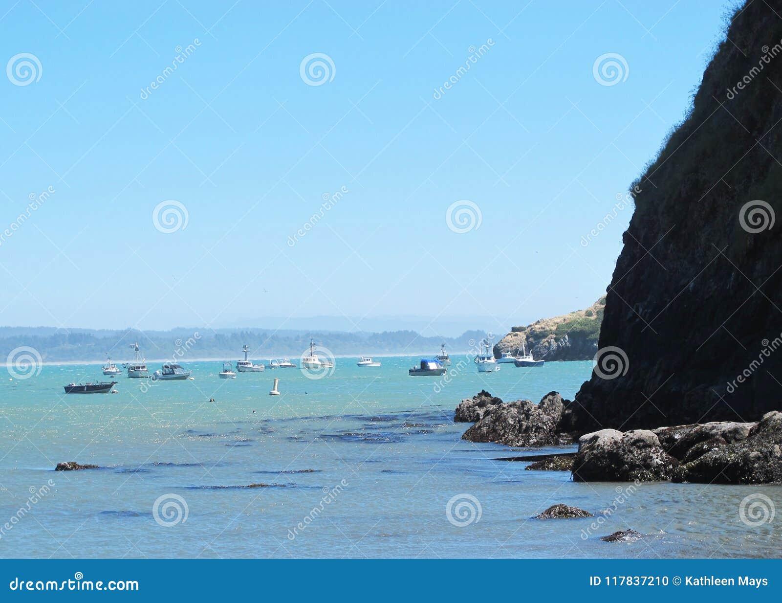 Blauw Oceaan, Zeewier en Rocky Cliffs in Baai met Vissersboten