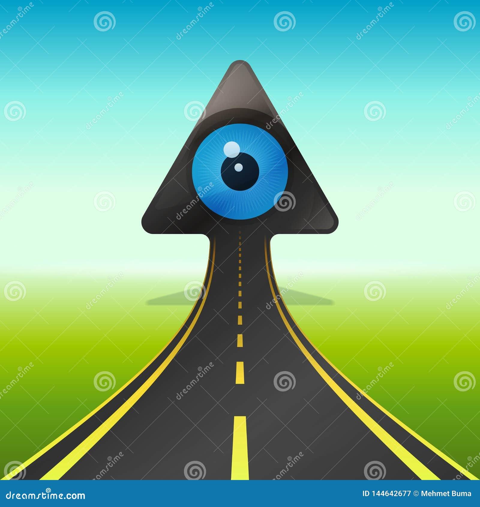 Blauw oog op het toenemen pijl