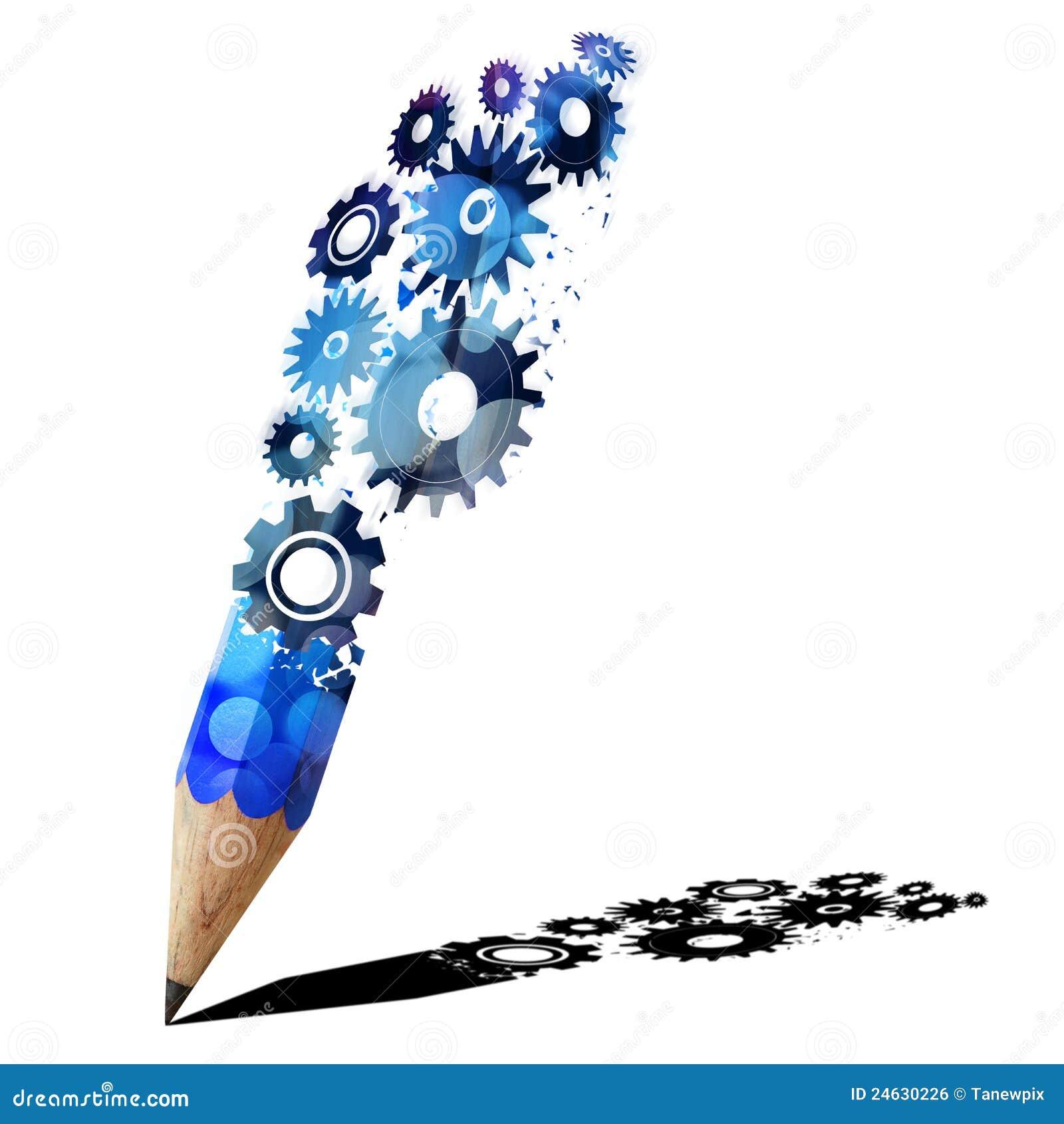 Blauw potlood creatief met toestellen.