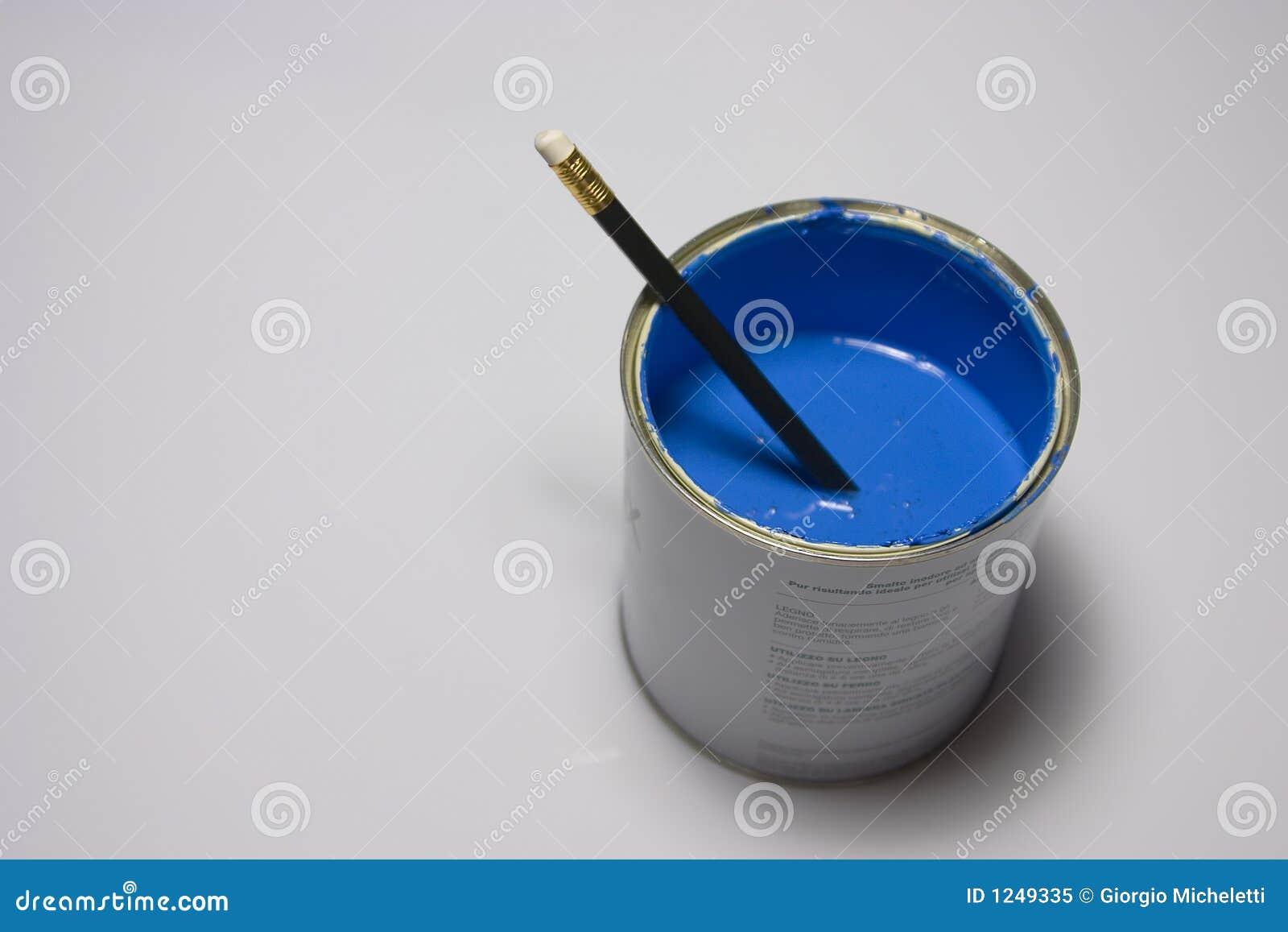 Blauw verf en potlood royalty vrije stock foto afbeelding 1249335 - Kleur blauwe verf ...
