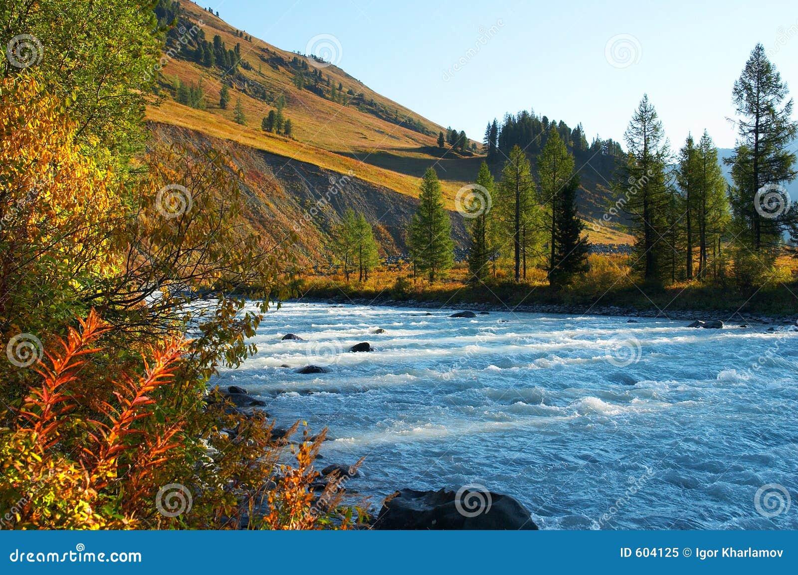 Blauw water in rivier.
