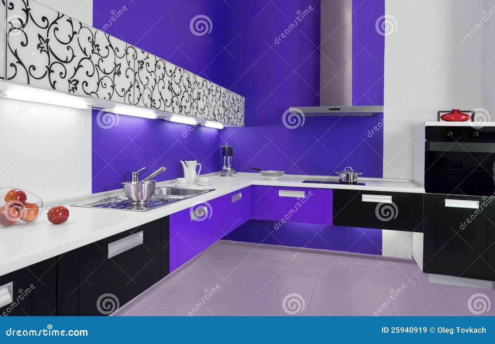 Blauw wit keuken modern binnenland royalty vrije stock ...
