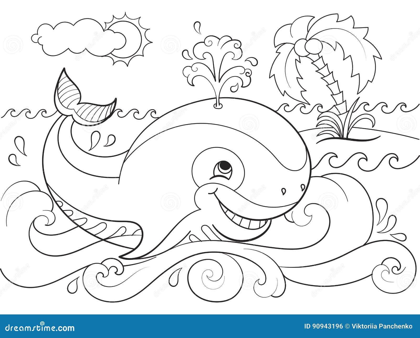 Blauwal Auf Einem Hintergrund Des Ozeanfarbtons Für Kinderkarikatur ...