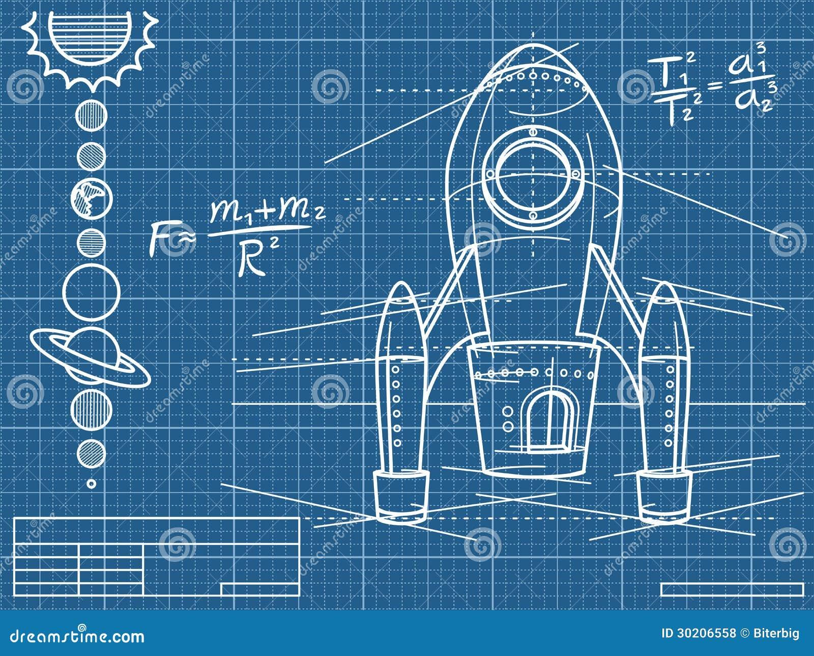 Blauwdruk Met Ruimteschip En Planeten Vector Illustratie