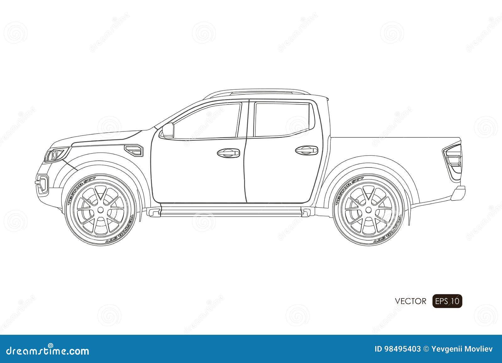 blauwdruk van suv contourtekening van auto op een witte achtergrond zijaanzicht van bestelwagen