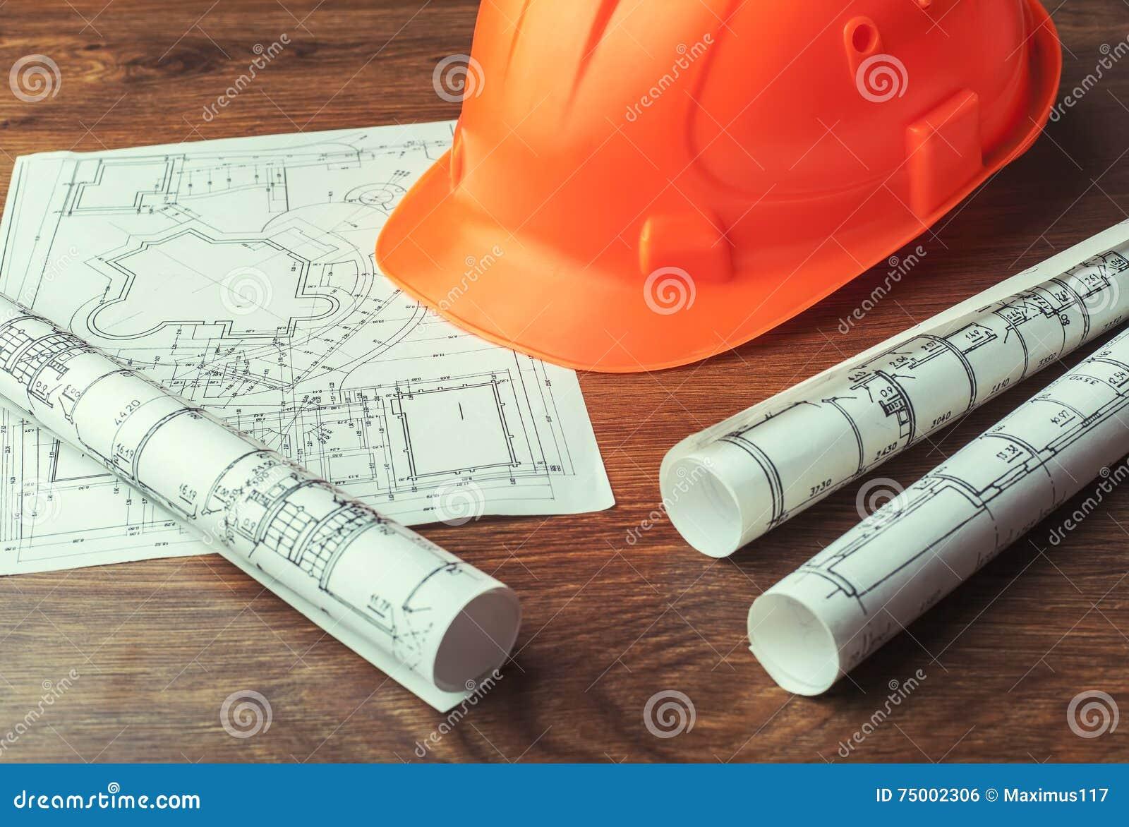 Blauwdrukbroodjes en reeks bouwhulpmiddelen
