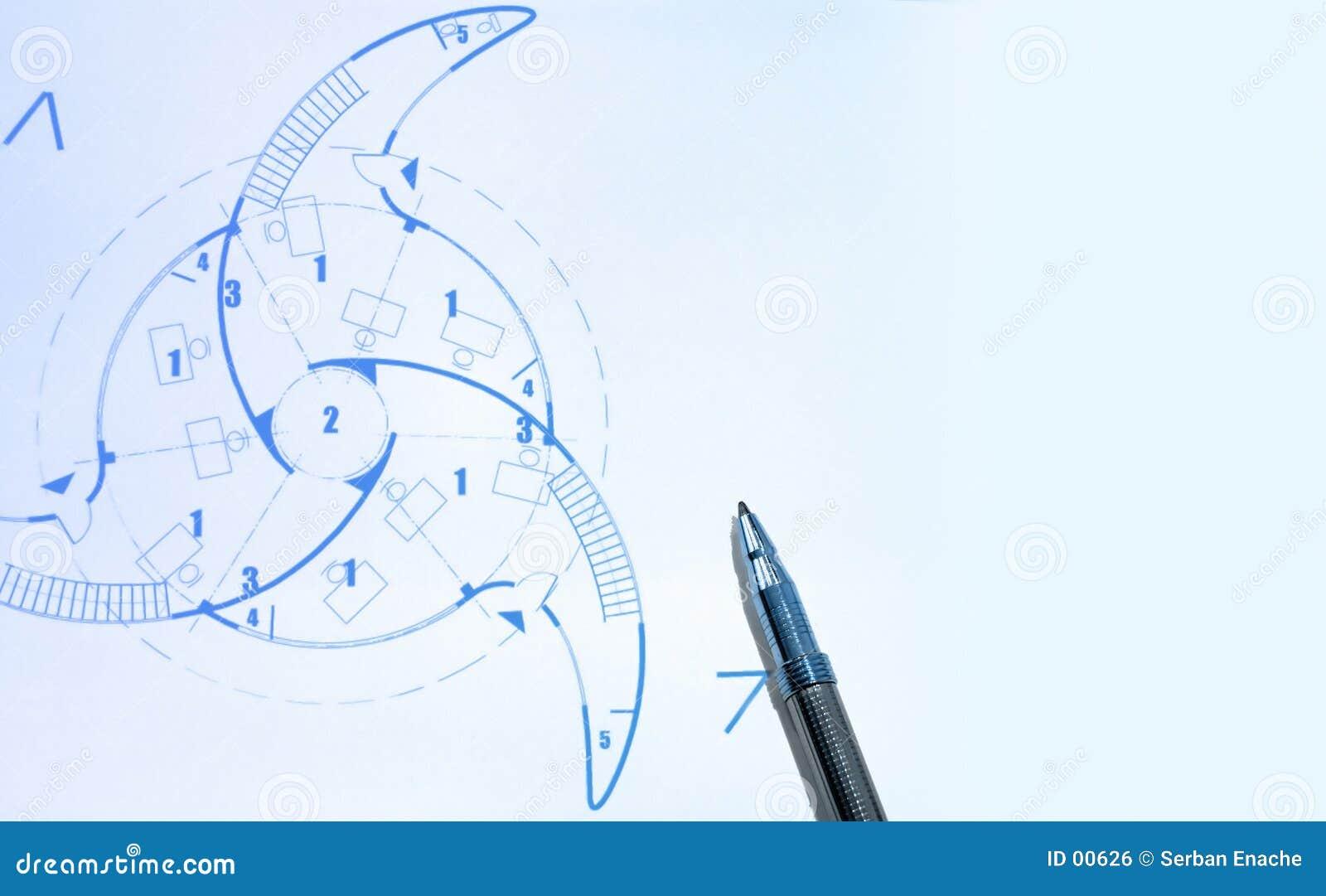 Blauwdrukken en pen