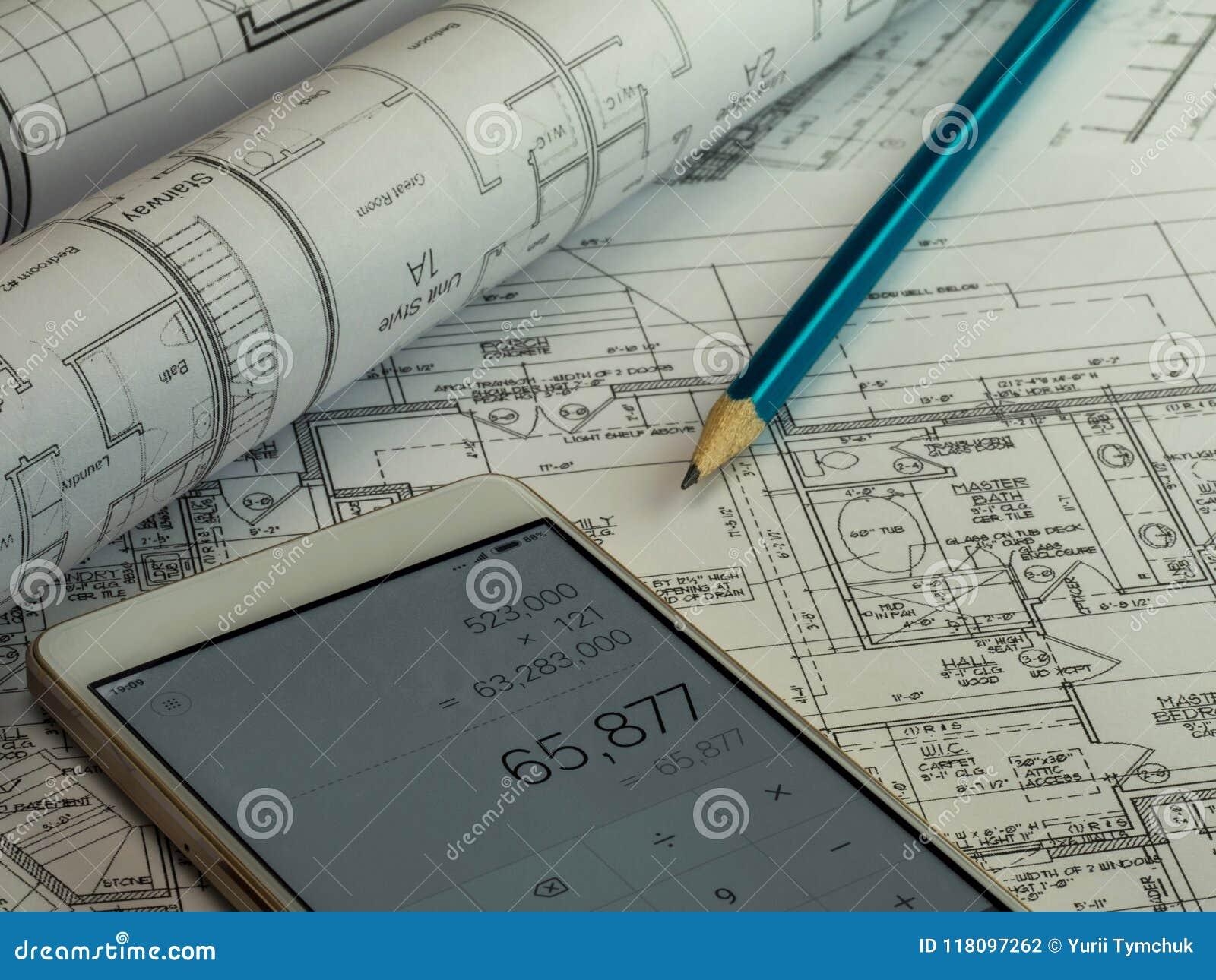 Blauwdrukplan van woningbouwbouw met potlood en ca