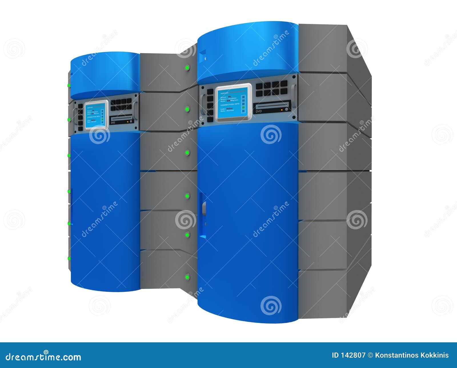 Blauwe 3d server
