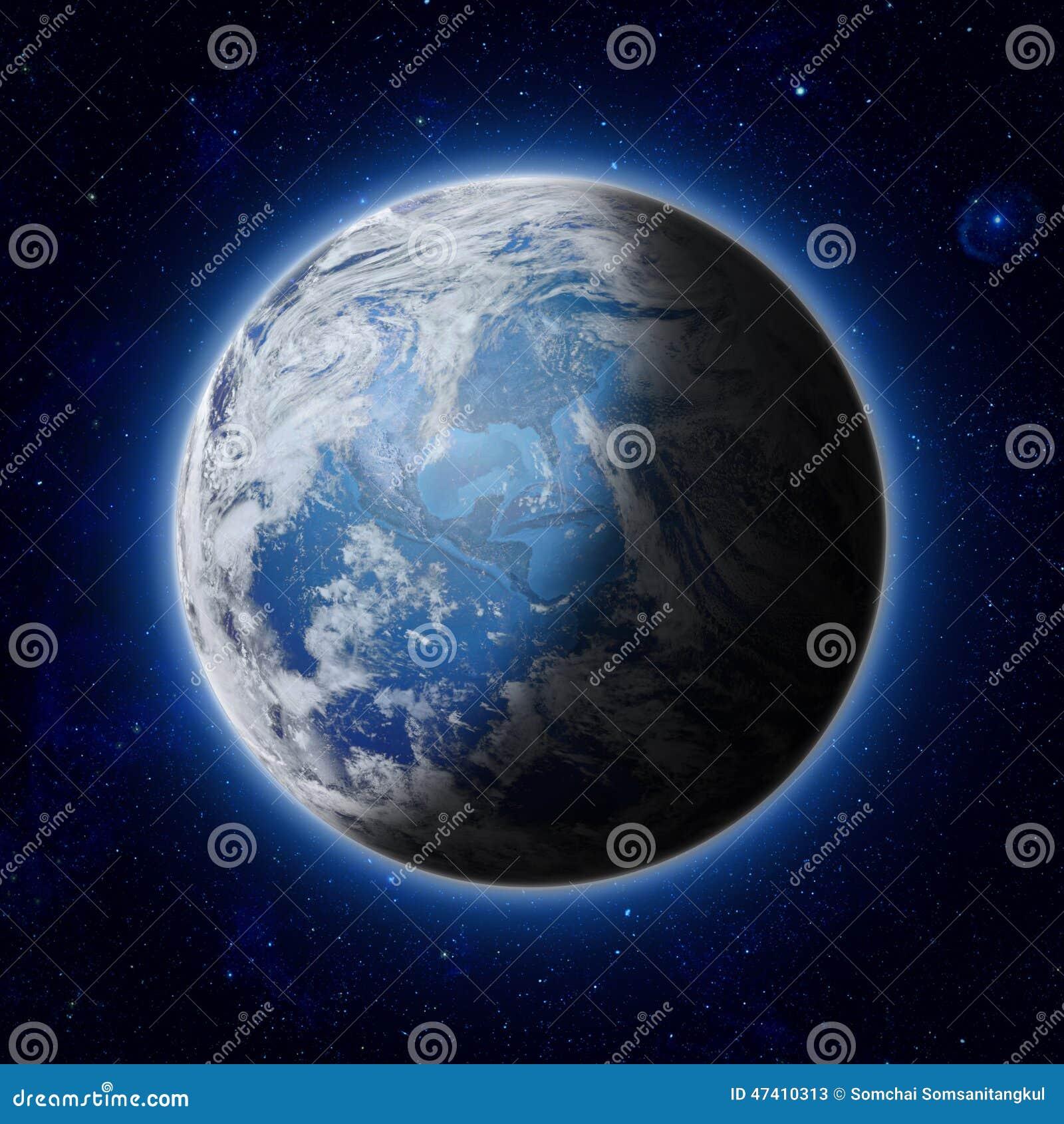 Blauwe Aarde in ruimte, de weg van Amerika, de V.S. van Wereld,