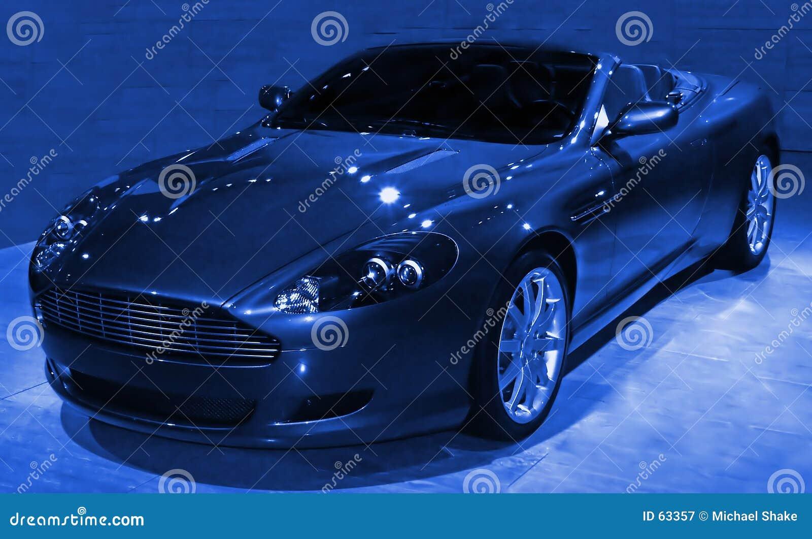 Blauwe abstracte Sportscar