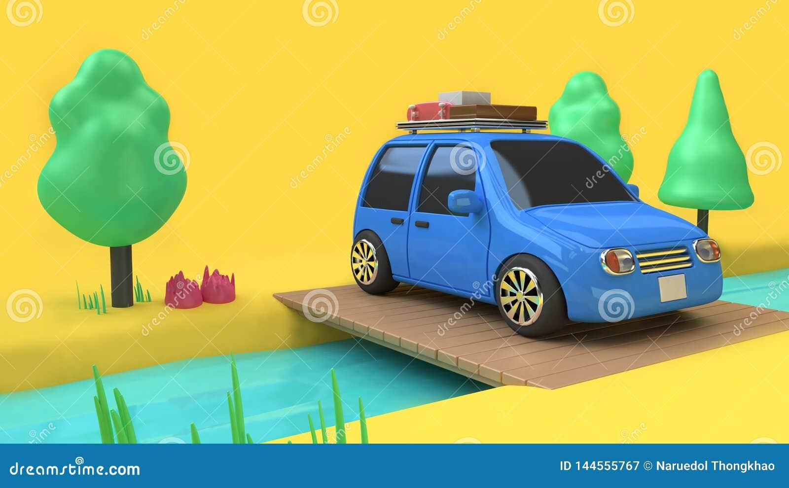 Blauwe auto eco-familie autostijl met voorwerp op houten brug over stroom en vele boomaard, het concept 3d teruggevend c van de r