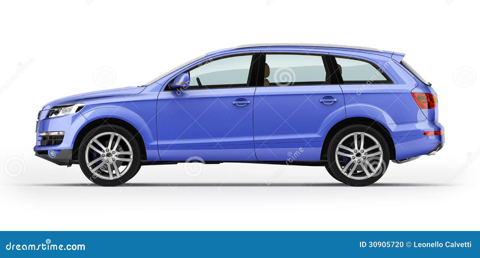 blauwe auto luxe suv ge soleerd op witte achtergrond stock foto afbeelding 30905720. Black Bedroom Furniture Sets. Home Design Ideas