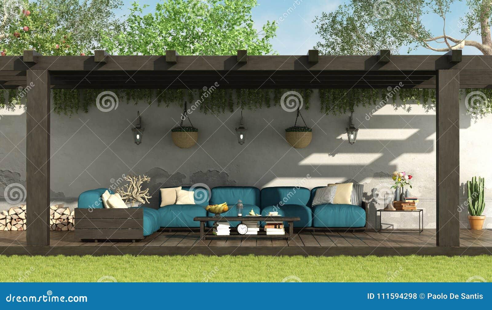 Blauwe bank onder een houten pergola stock illustratie illustratie