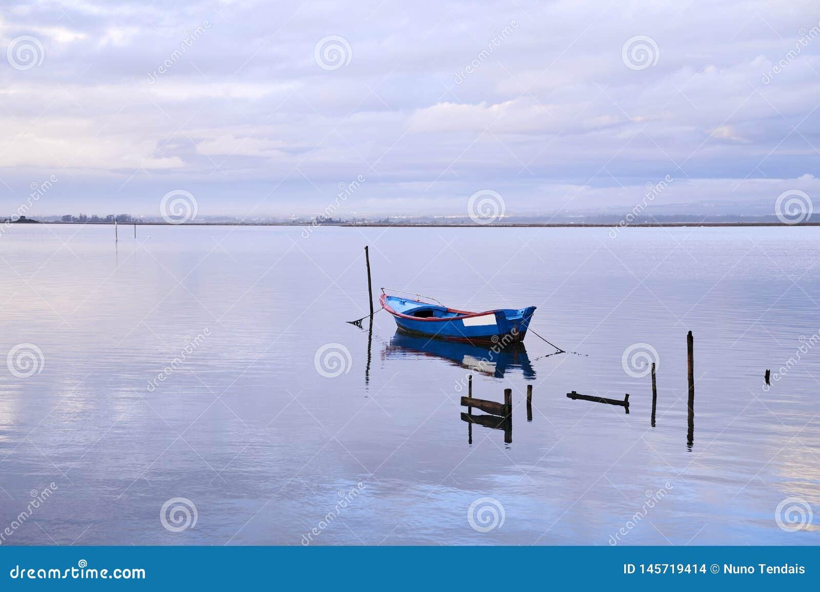 Blauwe boot in het midden van het meer