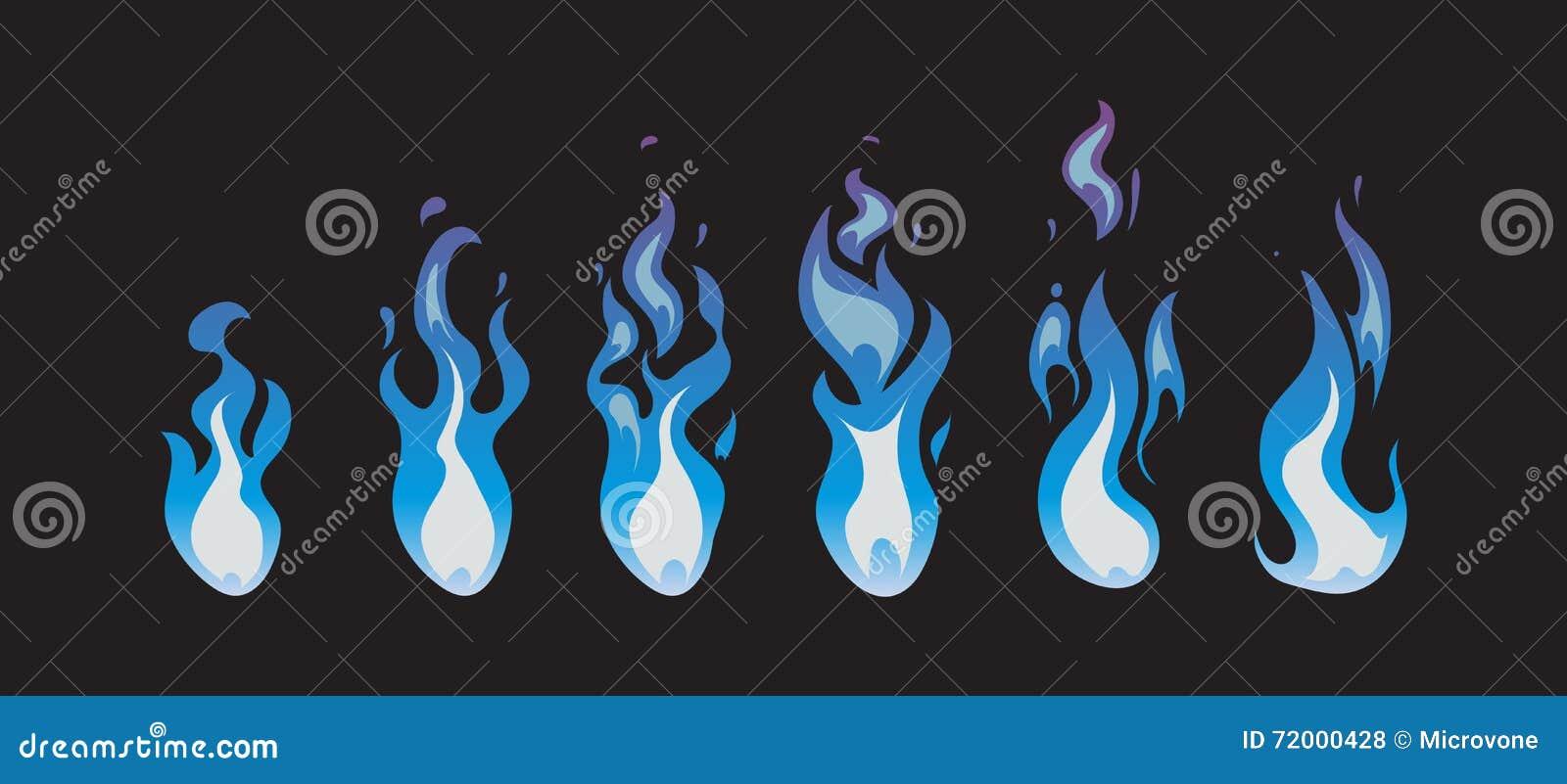 Blauwe brand vectoranimatie sprites, vlammen