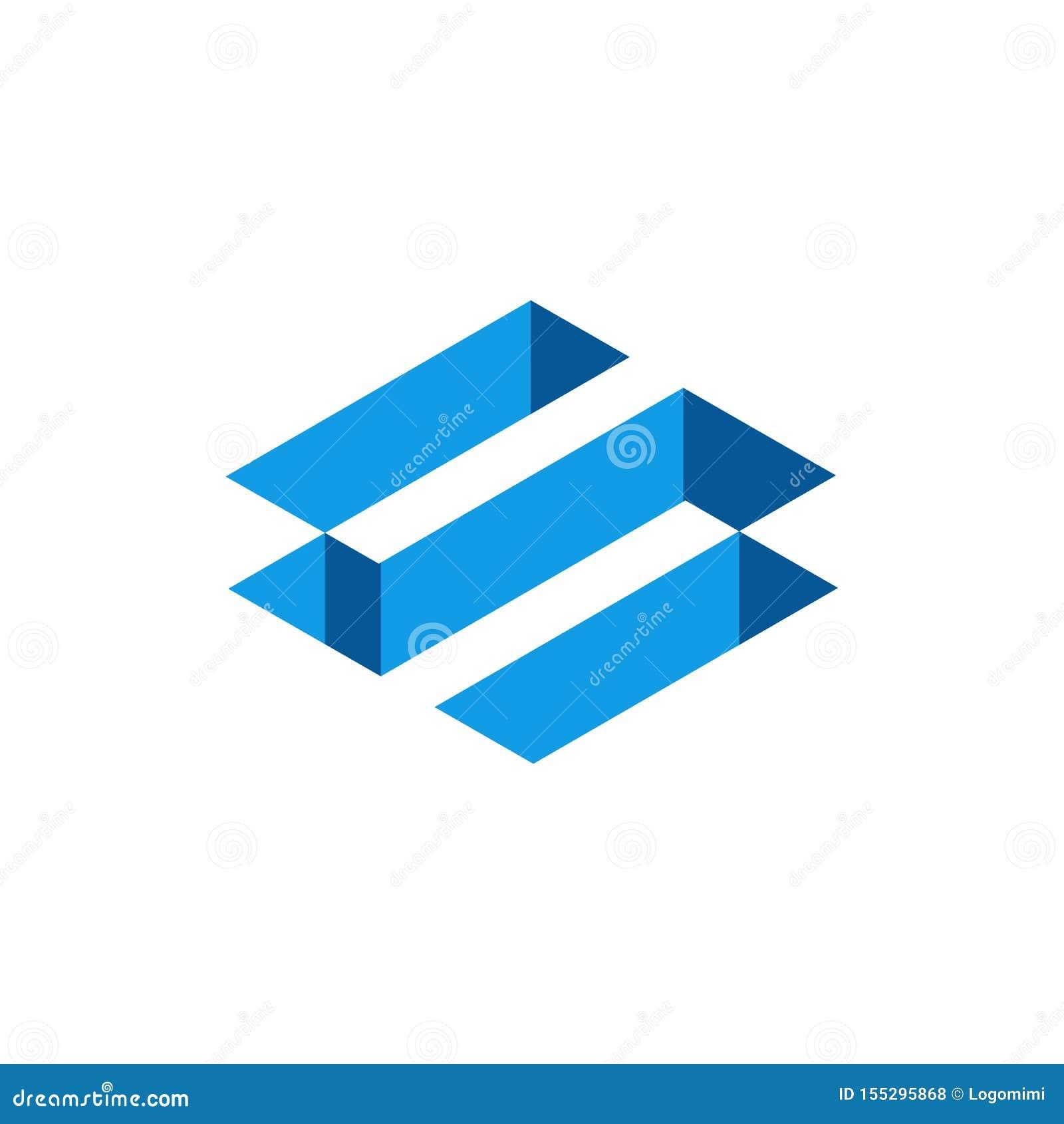 Blauwe 3D Isometrische Brief S, Abstracte Brief S Logo Design Vector illustratie