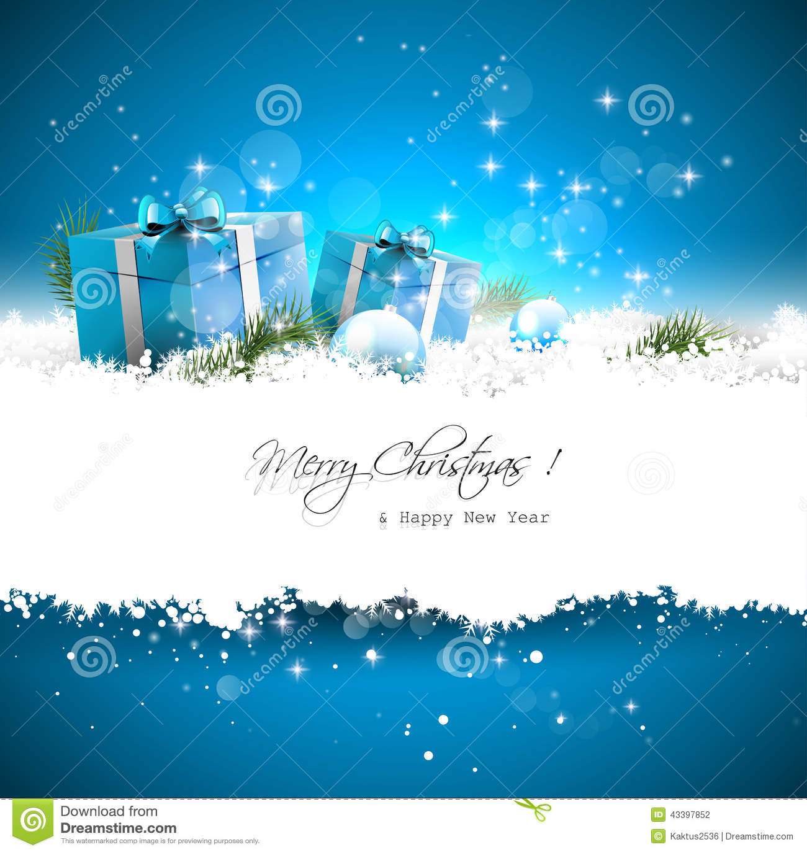 Blauwe de groetkaart van Kerstmis