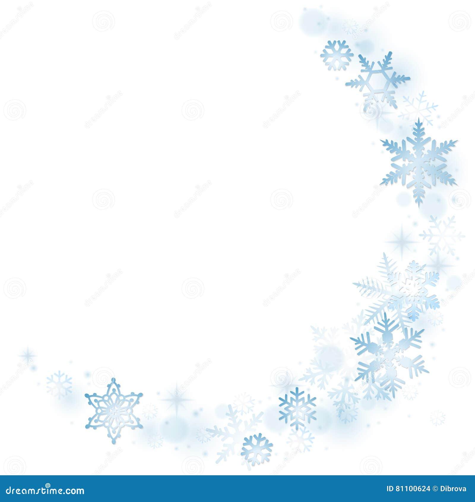 Blauwe de wintersneeuwvlokken