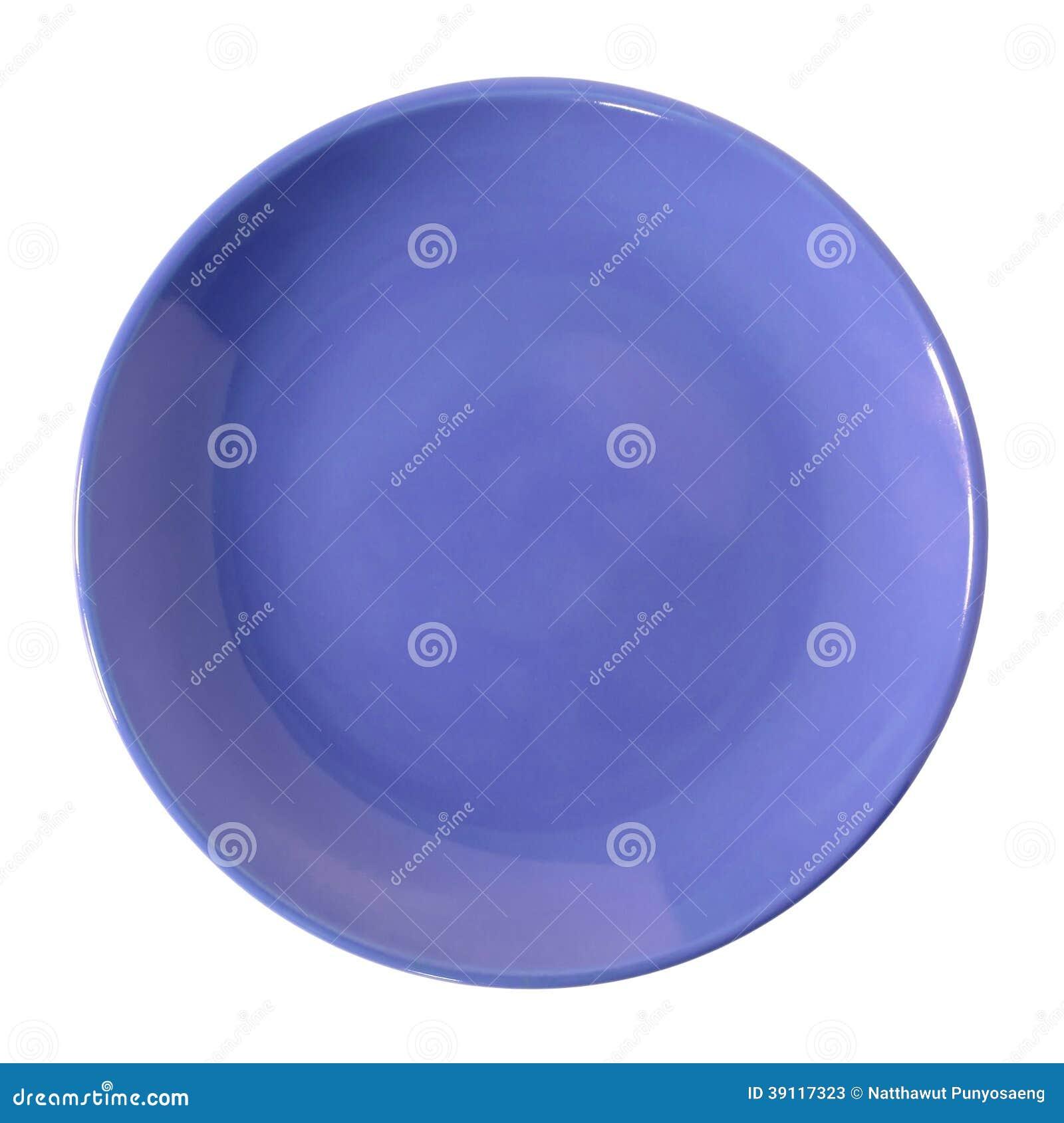 Blauwe die plaat op wit wordt geïsoleerd