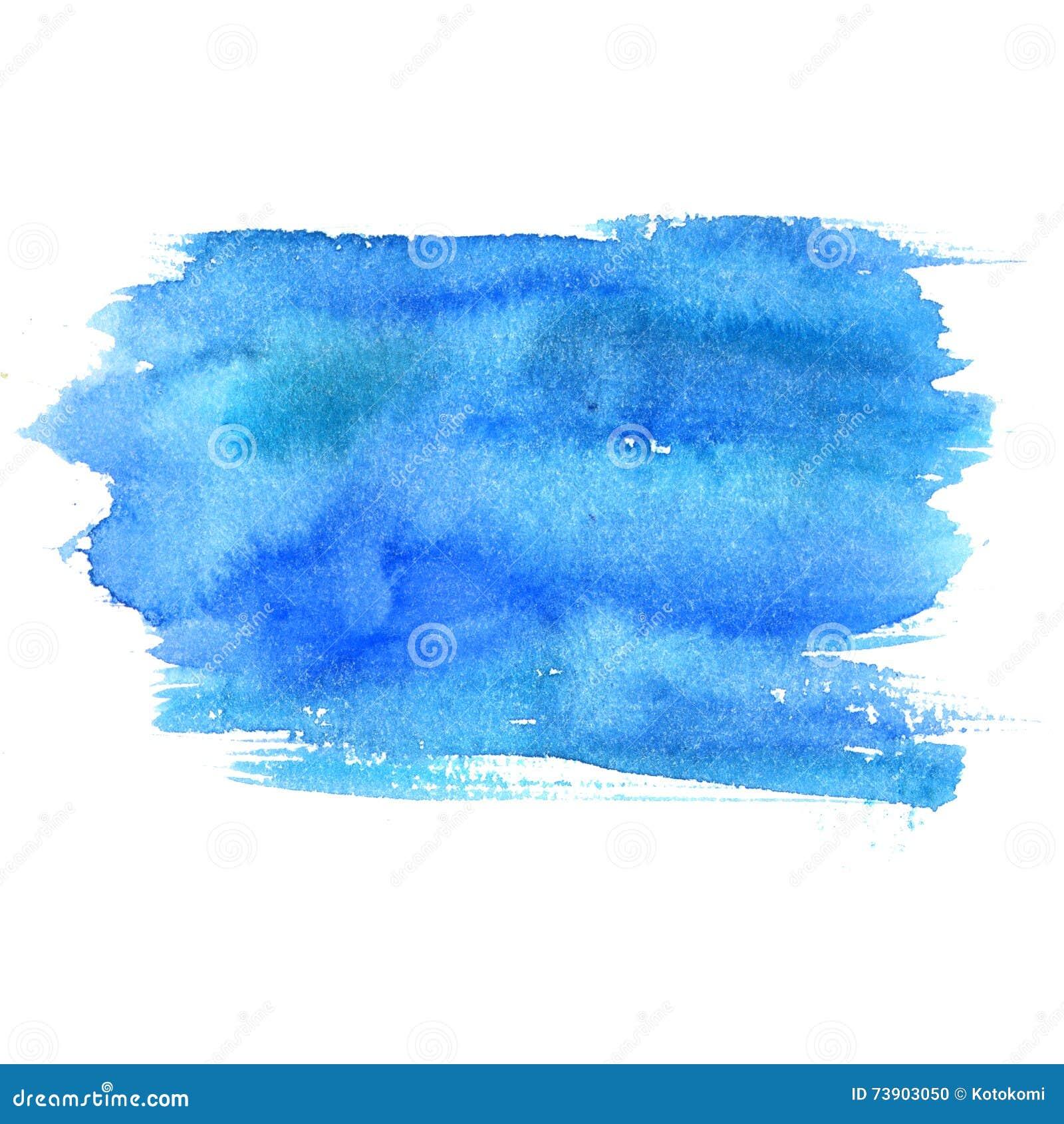 Blauwe die waterverfvlek op witte achtergrond wordt geïsoleerd Artistieke verftextuur