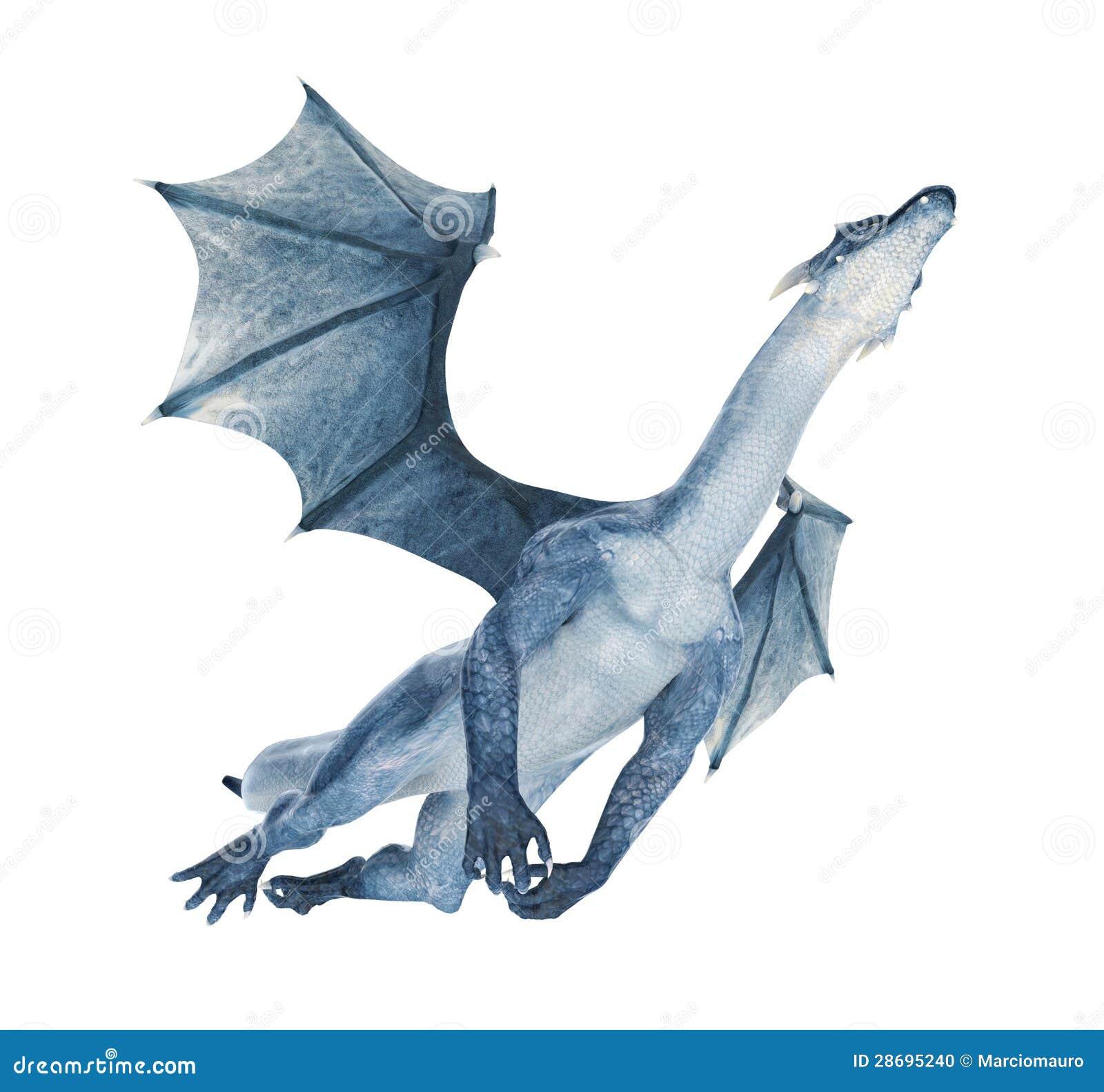 De Blauwe Draak.Blauwe Draak Die Uit Vliegen Stock Illustratie Illustratie