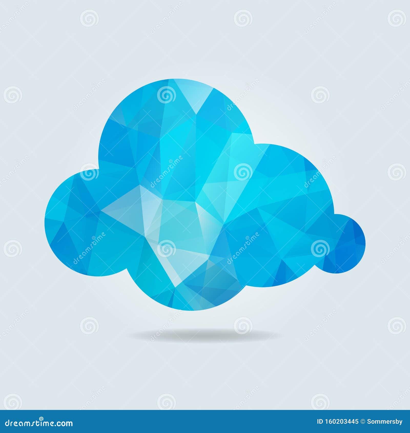 Blauwe driehoekige papieren wolk op grijze achtergrond Vectorillustratie