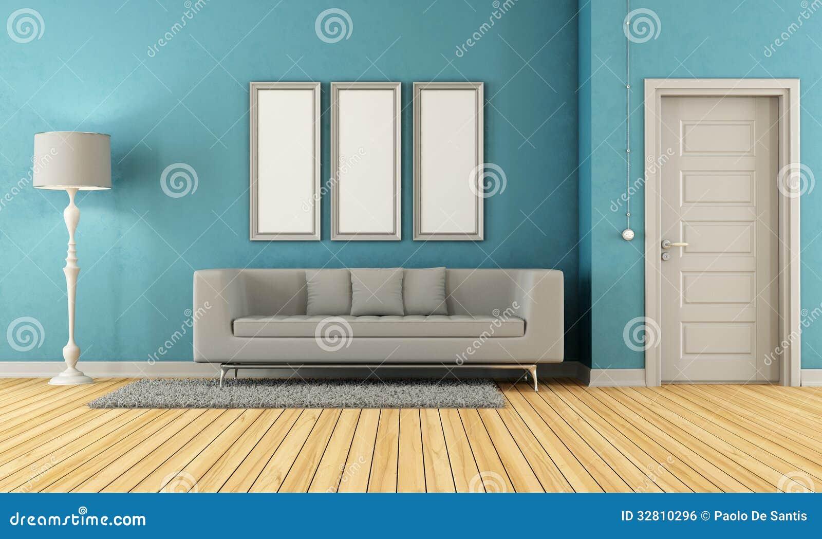 Blauwe en grijze woonkamer royalty vrije stock afbeelding ...