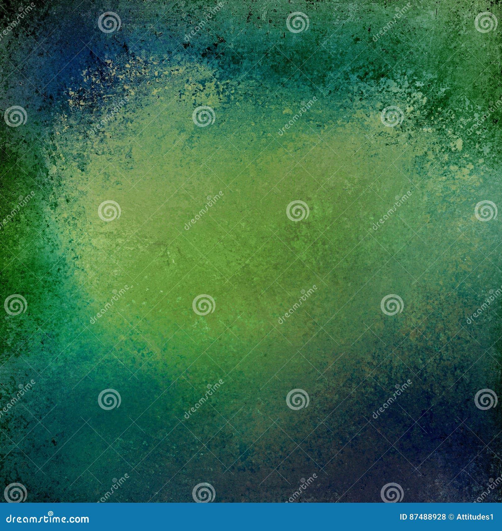 Blauwe en groene achtergrond met uitstekende grunge geweven grens