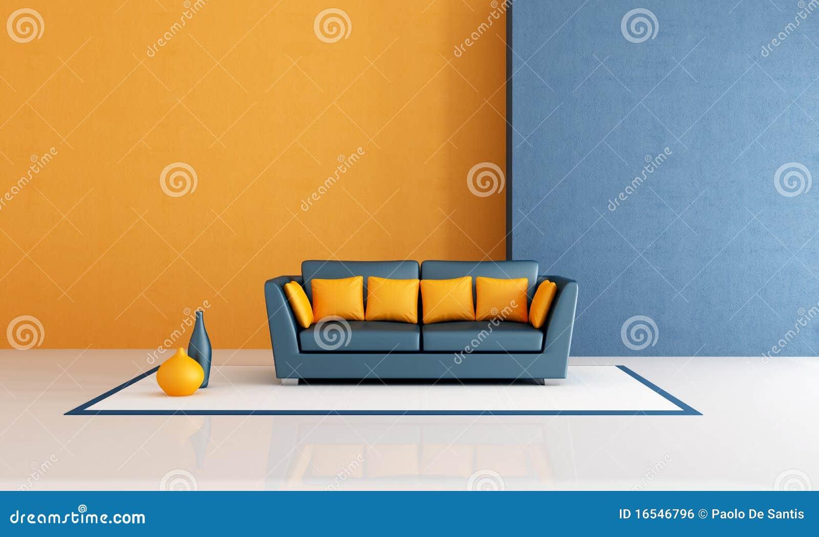 Blauwe en oranje woonkamer royalty vrije stock afbeelding ...