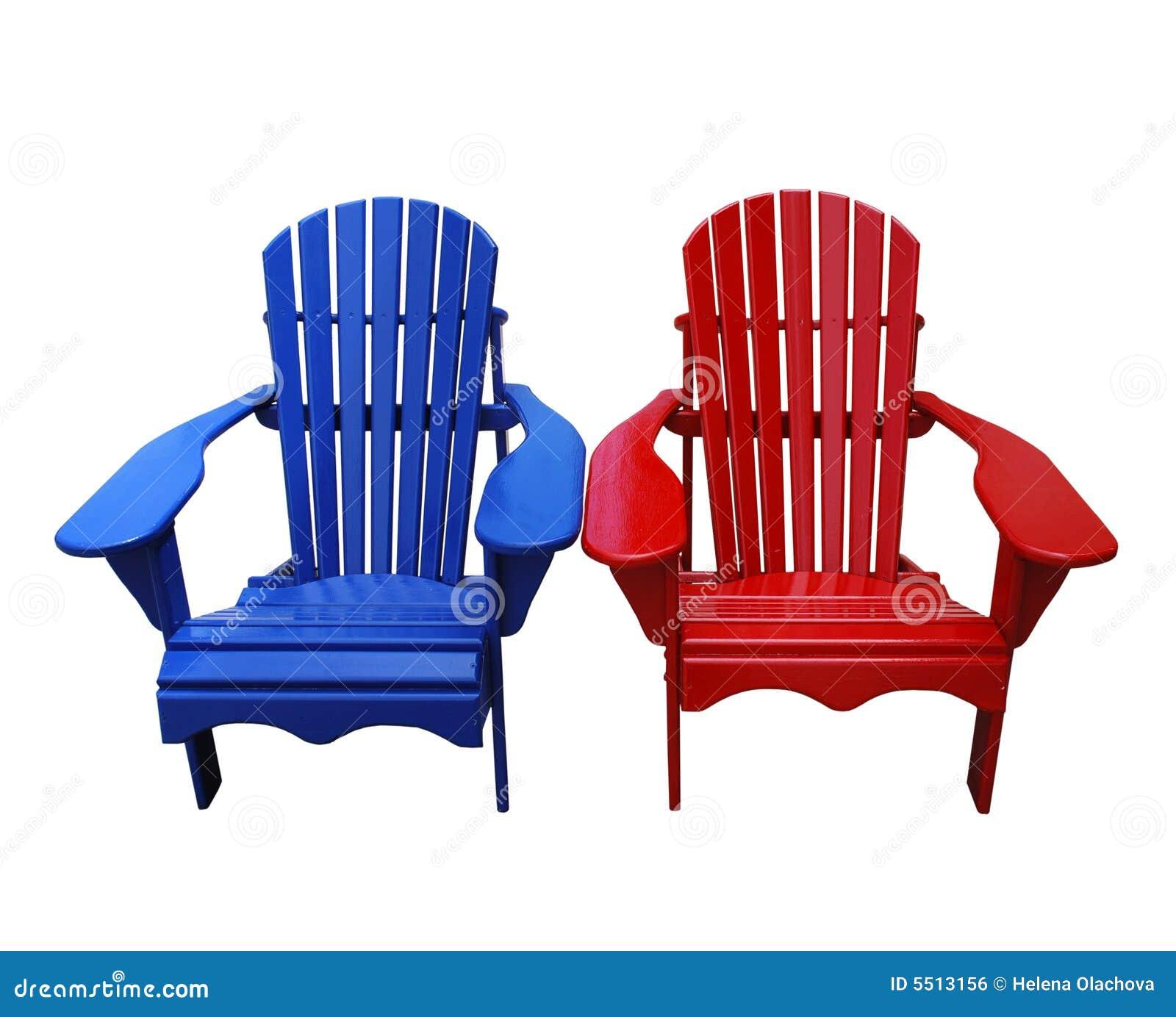 Blauwe en Rode Stoelen Muskoka