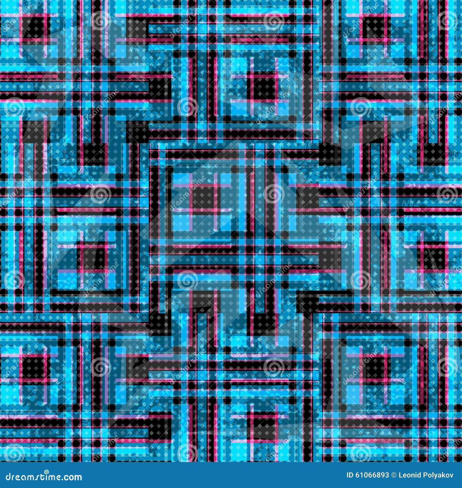 Blauwe en roze psychedelische veelhoeken en lijnen op een zwarte achtergrond Grungeeffect
