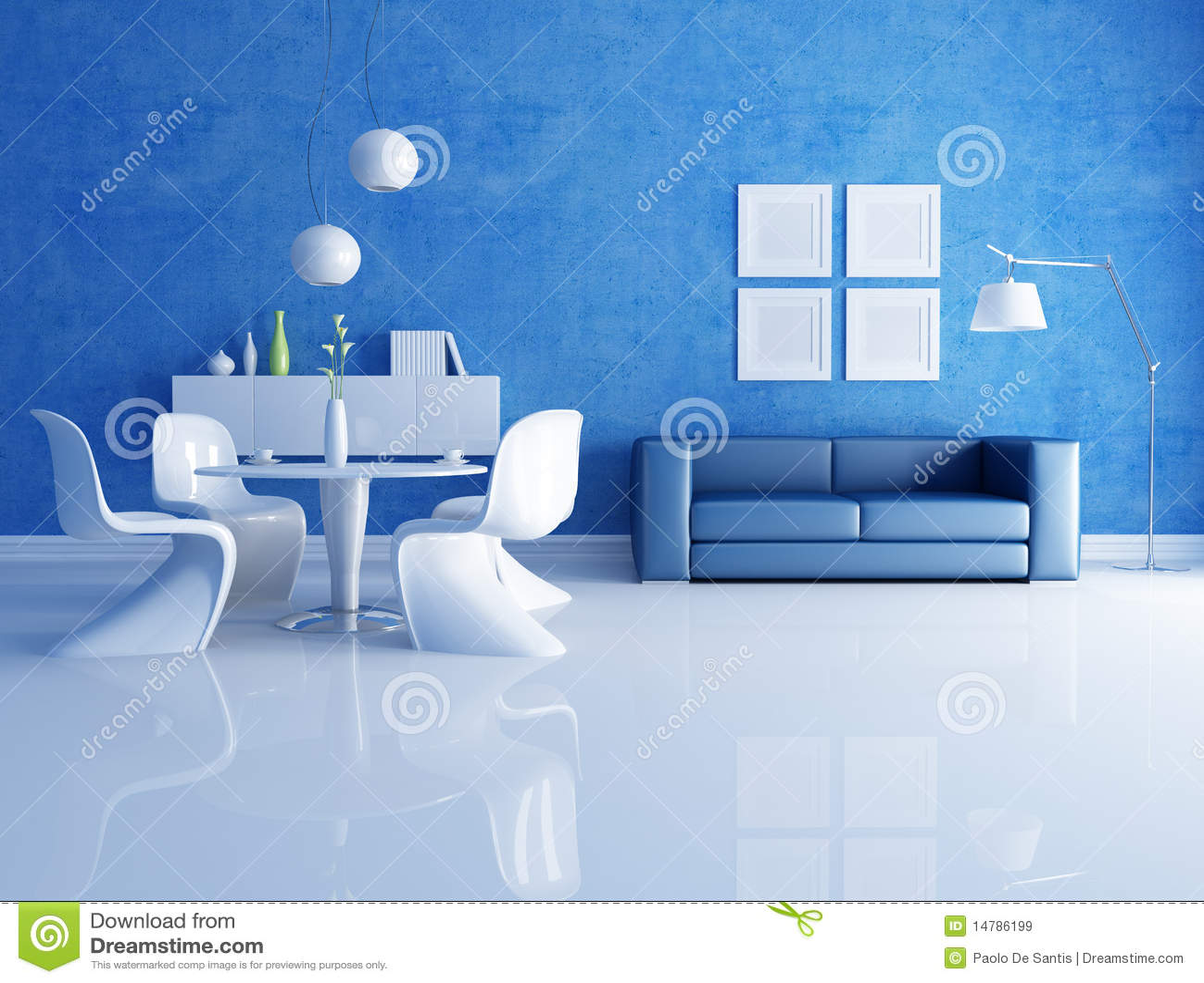 Blauwe En Witte Eetkamer Royalty-vrije Stock Afbeeldingen - Afbeelding ...