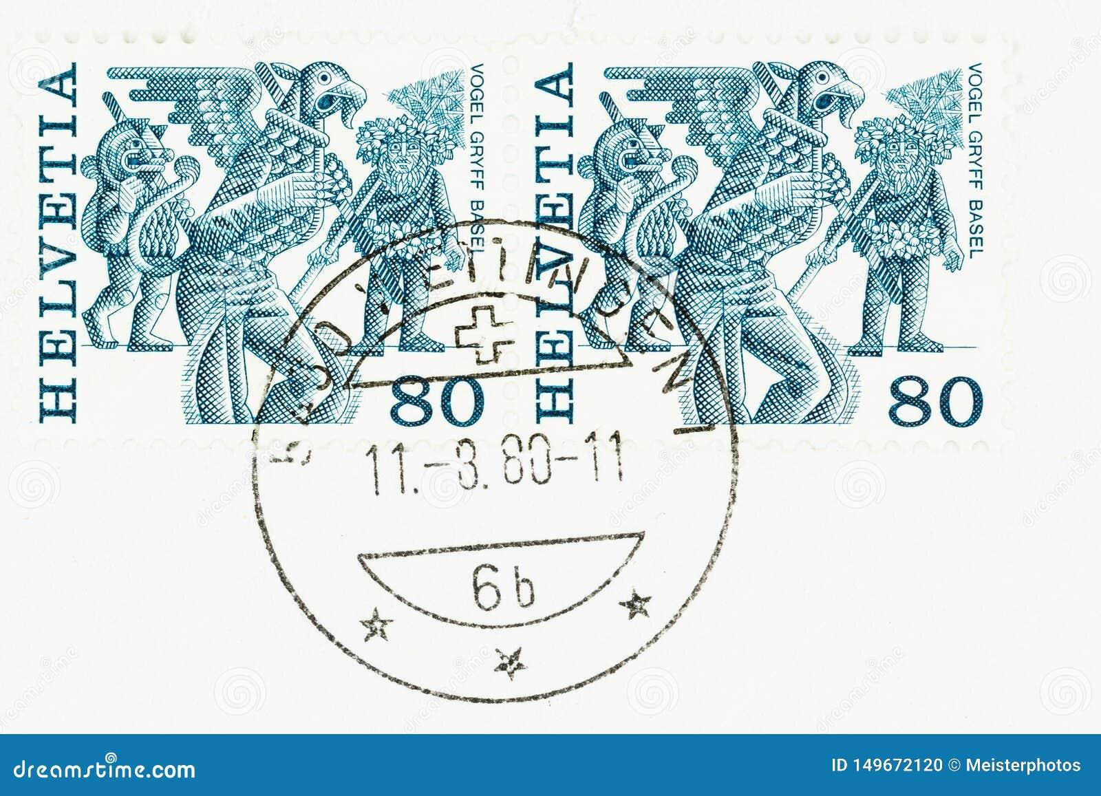 Blauwe en Witte Folklorezegels Zwitserland
