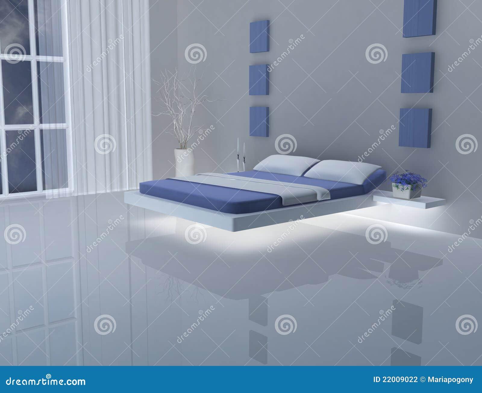 Blauwe Slaapkamer Muur : Blauwe En Witte Slaapkamer Stock Fotografie ...