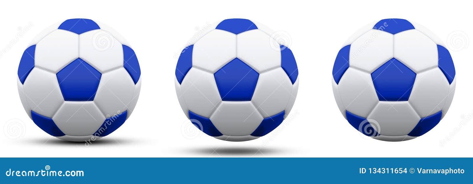 Blauwe en witte voetbalbal in drie versies, met en zonder schaduw Geïsoleerd op wit 3d geef terug