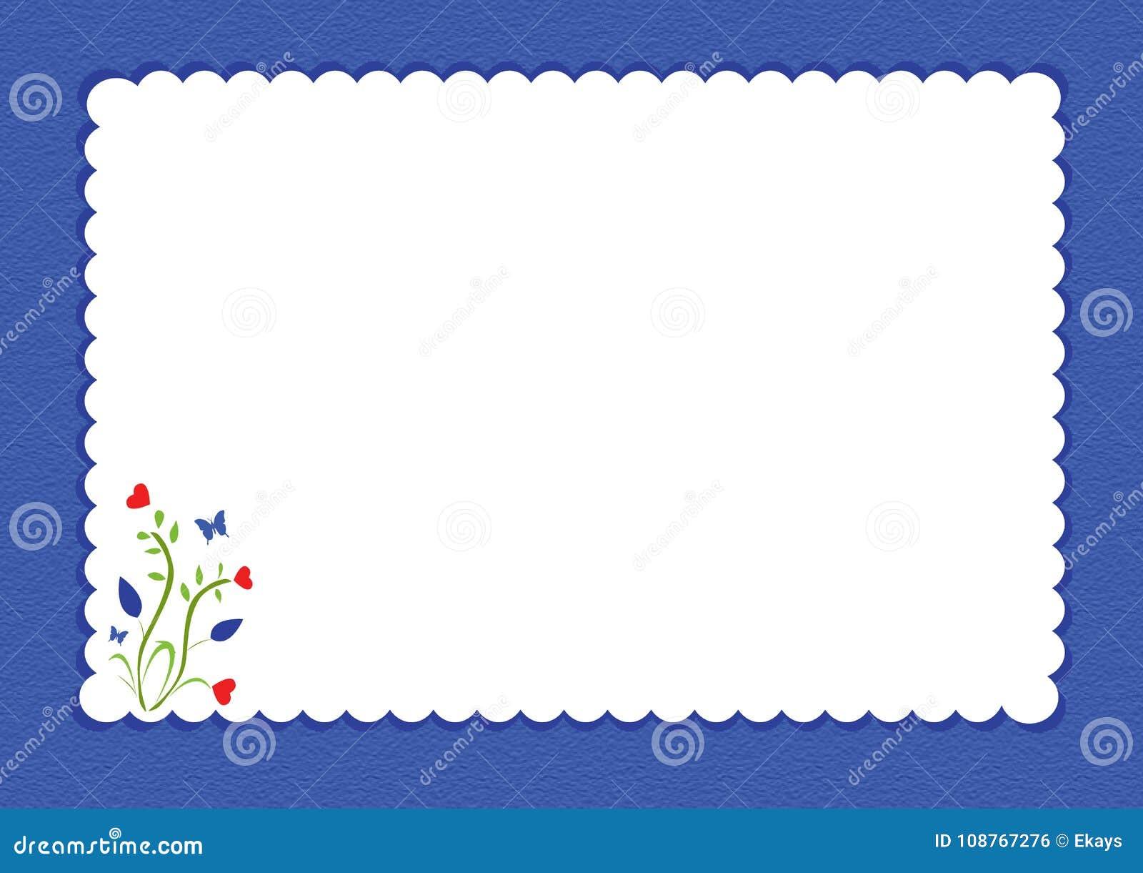 Blauwe gegratineerde grens met bloemenontwerp