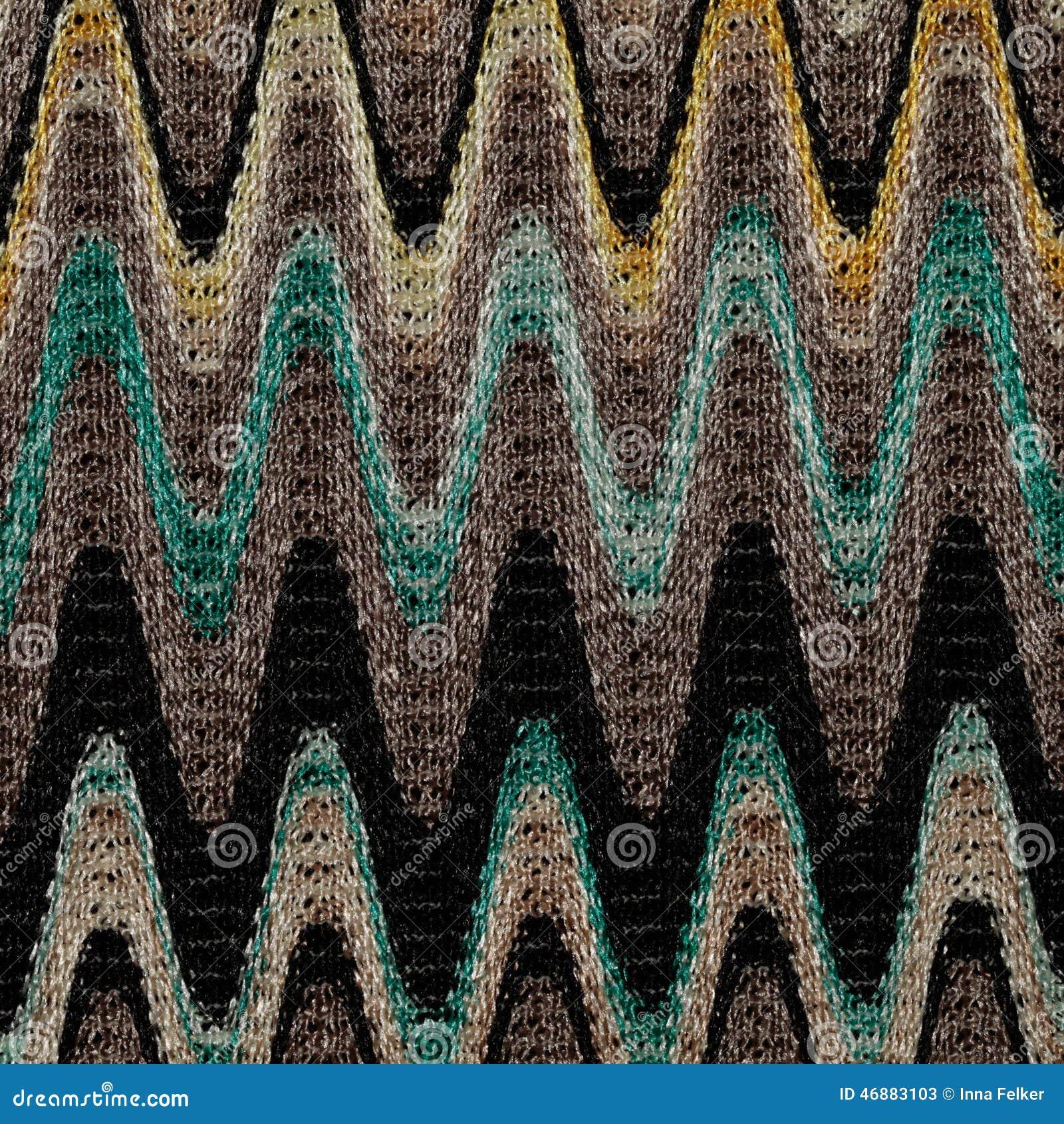 Blauwe, gele en grijze het patroonstof van golvenlijnen